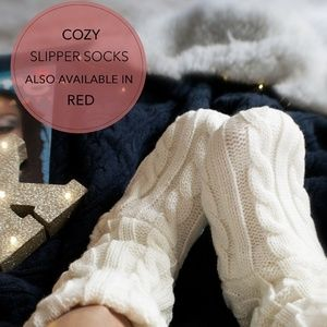 Shoes - Cozy Cable Knit Red & White Bootie Slippers